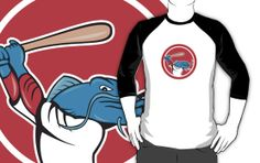 Catfish Baseball Player Batting Cartoon by patrimonio