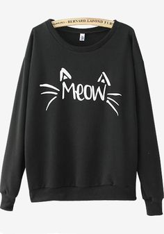 Black Cat Print Long Sleeve Sweatshirt