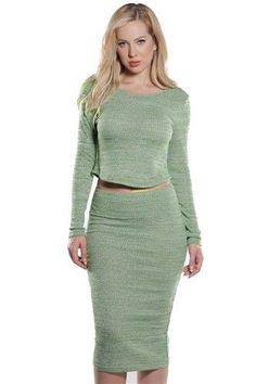 Autumn Green Rib Crop And Skirt Set XL  | eBay