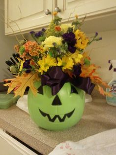 Festive Halloween pumpkin floral Arrangement