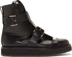 Marni Black Buckled Guard Belt Boots