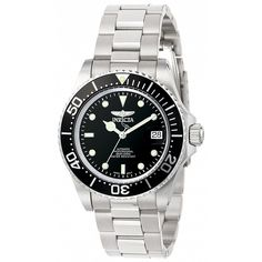 Invicta Pro Diver Men's Automatic Watch with Black Dial Display and Silver Stainless Steel Bracelet 8926