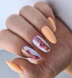 Cute Gel Nails, Chic Nails, Stylish Nails, Trendy Nails, Classy Nails, Aqua Nails, Oval Nails, Orange Nails, Girls Nail Designs
