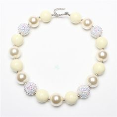Vintage Pearl style chunky necklace - cream, white bubblegum necklace - wedding necklace