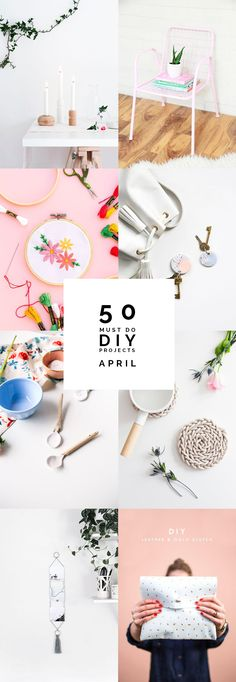 Need some creative inspiration? Here are 50 Must do DIY Projects from April to fuel your DIY needs until the end of May! Pin this now! Trouvez l'inspiration sur www.atelierbijouxceramique.fr