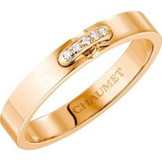 CHAUMET Liens XXS 18ct rose-gold and diamond wedding band (€1.775) ❤ liked on Polyvore featuring jewelry, rings, wedding rings jewelry, pink gold diamond ring, chaumet ring, diamond rings y pink gold jewelry
