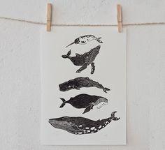 Wale | Linoldruck von pandadisco auf DaWanda.com