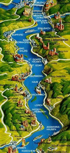 Rhine river map with 30 Rhine castles, Castle Hotel Burg Liebenstein, near Castle Sterrenberg and Kamp-Bornhofen on the Middle Rhine river, the most beautiful part of the Rhine with its numerous romantic castles, between Frankfurt, Wiesbaden, Rudesheim, Koblenz, Coblence, Koln, Cologne