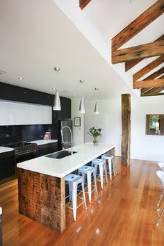 Recycled Australian hardwood internal structural beams and flooring