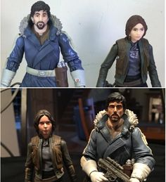 Jyn Erso and Cassian Andor Star Wars  Black Series 6 inch action figures custom repaint
