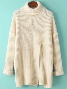 Turtleneck Split Loose Beige Sweater Dress