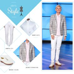 Ellen's Look of the Day: Plaid blazer, white jeans, white shoes