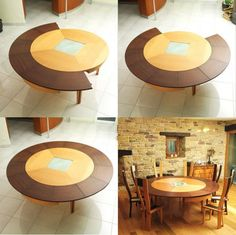 Dining Room : Expandable Dining Table Expandable Dining Table Set Wooden Extendable Dining Table Kitchen Table And Chairs Unique Dining Room Tables 44 Extendable Dining Tables Expandable Round Dining Table, Dining Table Design, Dining Room Table, Circular Table, Deco Design, Decoration Table, Diy Room Decor, Home Decor, Dining Room