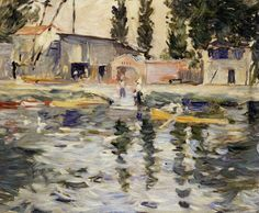 The Seine at Bougival by Berthe Morisot, Oil painting reproductions Mary Cassatt, Impressionist Paintings, Landscape Paintings, Modern Paintings, Renoir, Painting Gallery, Art Gallery, Berthe Morisot, Edouard Manet