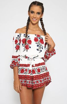 Desert Breeze Playsuit - Red Floral