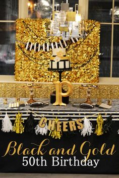 Black and gold 50th birthday party! See more party planning ideas at CatchMyParty.com!