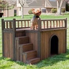 Wooden Dog House Stair Case w Roof Deck Sm, Med, Large Pet Crate Habitat Villa