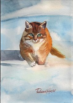 Print of Watercolor Painting Red Cat Kitty Ginger Cat Tabby Cute Red and White…