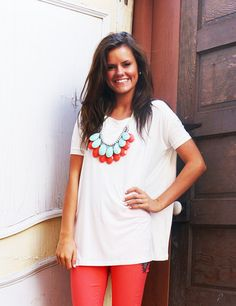colorful pants + white top + statement necklace