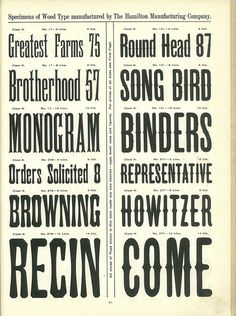 Vintage typefaces. The Hamilton Manufacturing Co. | wood type
