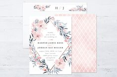"""Poetic Blue"" - Floral & Botanical Wedding Invitation Petite Cards in Sky by Qing Ji."
