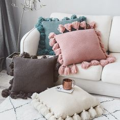 Knit Cushion Cover Solid Ivory Grey Pink Ivory Green Solid Pillow Case Soft For Sofa Bed Nursery Room Decorative. Knitted Cushion Covers, Cheap Cushion Covers, Cushion Cover Designs, Knitted Cushions, Sofa Cushion Covers, Cushion Pillow, Cute Cushions, Colourful Cushions, Cute Pillows