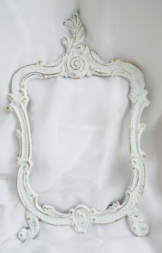 White Rococo French Frame Upcycled Chic Fancy Shabby Cottage Decor