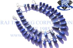 Lapis Lazuli Smooth Drops (Quality AA) Shape: Drops Smooth Length: 18 cm Weight Approx: 10 to 12 Grms. Size Approx: 5x8.5 to 6.5x16 mm Price $23.94 Each Strand