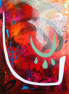 Count your Blessings. By Alice Boyle. Acrylic and Plaster on Hardboard. Red, Abstract, Artist, Surreal, Dove