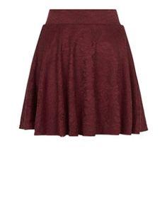 Teens Burgundy Flounce Lace Skater Skirt    New Look