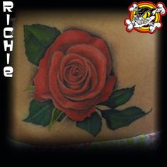Check out this amazing rose done by Richie! This is a completely healed picture of the tattoo!