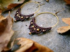 Gold hoop earrings macrame, Christmas unique handmade gifts, Girlfriends Birthday present, Yoga teacher gift ideas, Romantic jewelry for her