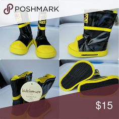 Boots Kids Korner black and yellow fire fighter boots. Infants size 3 fits 6 to 9 month kids korner Shoes Boots
