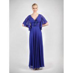 Φόρεμα μακρύ με μανίκια και κέντημα στο μπούστο