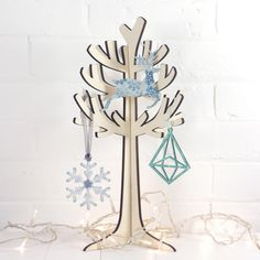 Wooden Christmas tree hanging with hand made Christmas decorations from Artcuts Wooden Christmas Trees, Christmas Decorations To Make, Christmas Crafts, 3d Tree, Wooden Shapes, Handmade Christmas Gifts, Craft Materials, Craft Gifts, How To Make