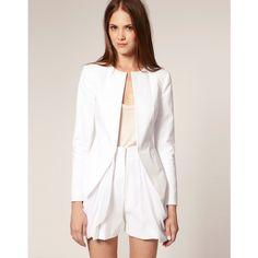 Asos Chiffon Hem Draped Suit Blazer