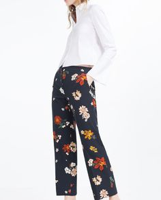 Image 2 of CROPPED WIDE-LEG TROUSERS from Zara