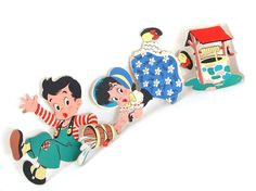 These nostalgic, vintage Jack and Jill nursery rhyme cardboard wall hangings were in my room as a small girl (being that my name is Jaci).