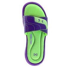 31360b932 Under Armour GIRLS Ignite VI Slides (Purple   Neon Green) 1243729-563