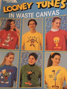 Looney Tunes in Waste Canvas Warner Bros Characters Bugs Taz Wiley Foghorn Daffy Pepe Cross Stitch Needlework Chart Leisure Arts Design 2564 Anchor Threads, Pepe Le Pew, Yosemite Sam, Marvin The Martian, Daffy Duck, Raggedy Ann And Andy, Looney Tunes, Cross Stitch Designs, Warner Bros