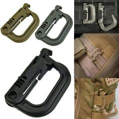 2PCS Molle Carabiner Tactical Backpack EDC Shackle Snap Hook D-Ring Clip KeyRing