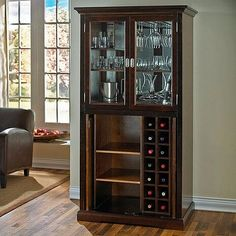 Liquor Storage, Wine Glass Storage, Wine Storage Cabinets, Diy Kitchen Storage, Armoire Bar, Sliding Pocket Doors, Home Bar Designs, Couch Set, Wall Bar