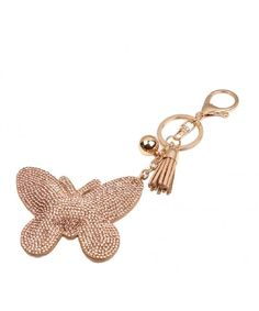 Fashion Creative Butterfly Diamond Tassel Keychain Bag Handbag Key Ring Car  Key Pendant - Gold - CA12MOZD1DX 26294ab6ee6b