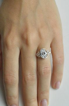 Art Deco Engagement Ring 14k Yellow Gold Engagement by barzahav