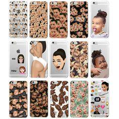 Kimoji Kim Kardashian kanye west north kylie jenner Soft TPU Phone Case Cover Coque For iPhone 7Plus 7 6 6S 5 5S SE 5C 4 4S