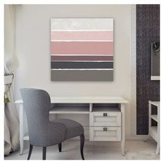 This style of painting would be a fun DIY to try! Ombre color palette in varied stripe widths