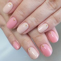 nail art design for short nails, simple, one color, beige, pink, gold stone #shortnail #nailart