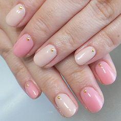 nail art design for short nails, simple, one color, beige, pink, gold stone #shortnail #nailart