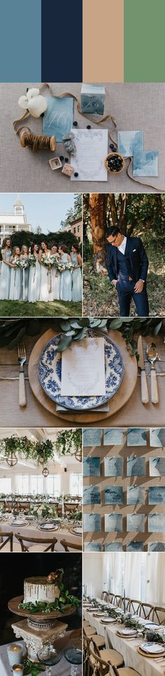 Dusty blue, navy, birch wood, and sage are the perfect colors for a subtle spring wedding | photo by Luke and Mallory, event and floral design by Kaleb Norman James, cake by Cakes by Felicitations, stationery by Gabriel Pattenhouse, groom's apparel by Bonobos