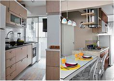 """A """"cozinha-corredor"""" é quase uma unanimidade nos projetos de imóveis com pequena ou média metragem.Chamo assim as cozinhas estreitas e compridas que quase sempre só permitem móveis e eletrodomésticos em uma das  paredes mais compridas. Apesar do pouco espaço,ela pode ser uma boa área de trabalho, desde que tenhamos atenção a algumas """"regras"""" básicas: Veja no Simples Decoração!"""